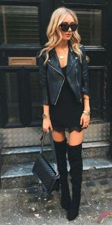 Black leather jacket outfit 39