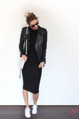 Black leather jacket outfit 43