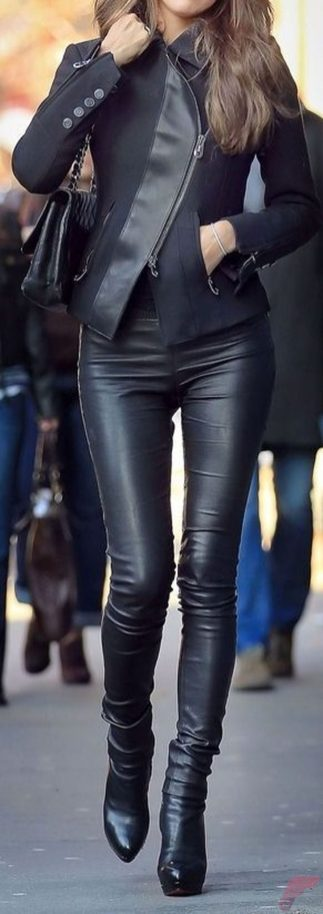 Black leather jacket outfit 48