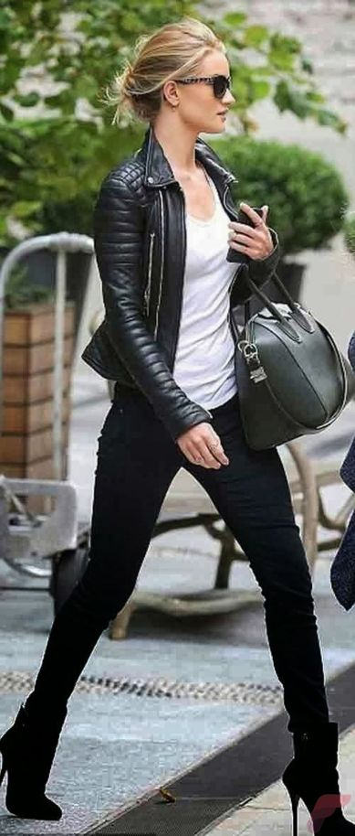 Black leather jacket outfit 49