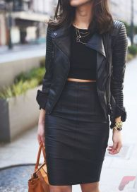 Black leather jacket outfit 53