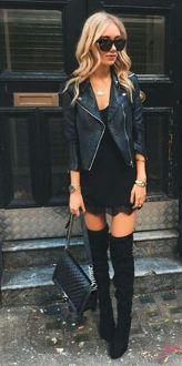 Black leather jacket outfit 59