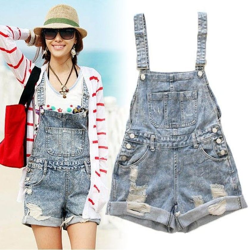 Denim overalls short outfit 10