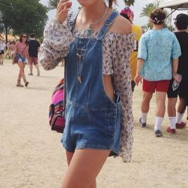 Denim overalls short outfit 102