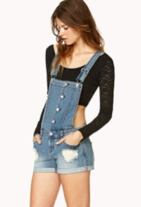 Denim overalls short outfit 103