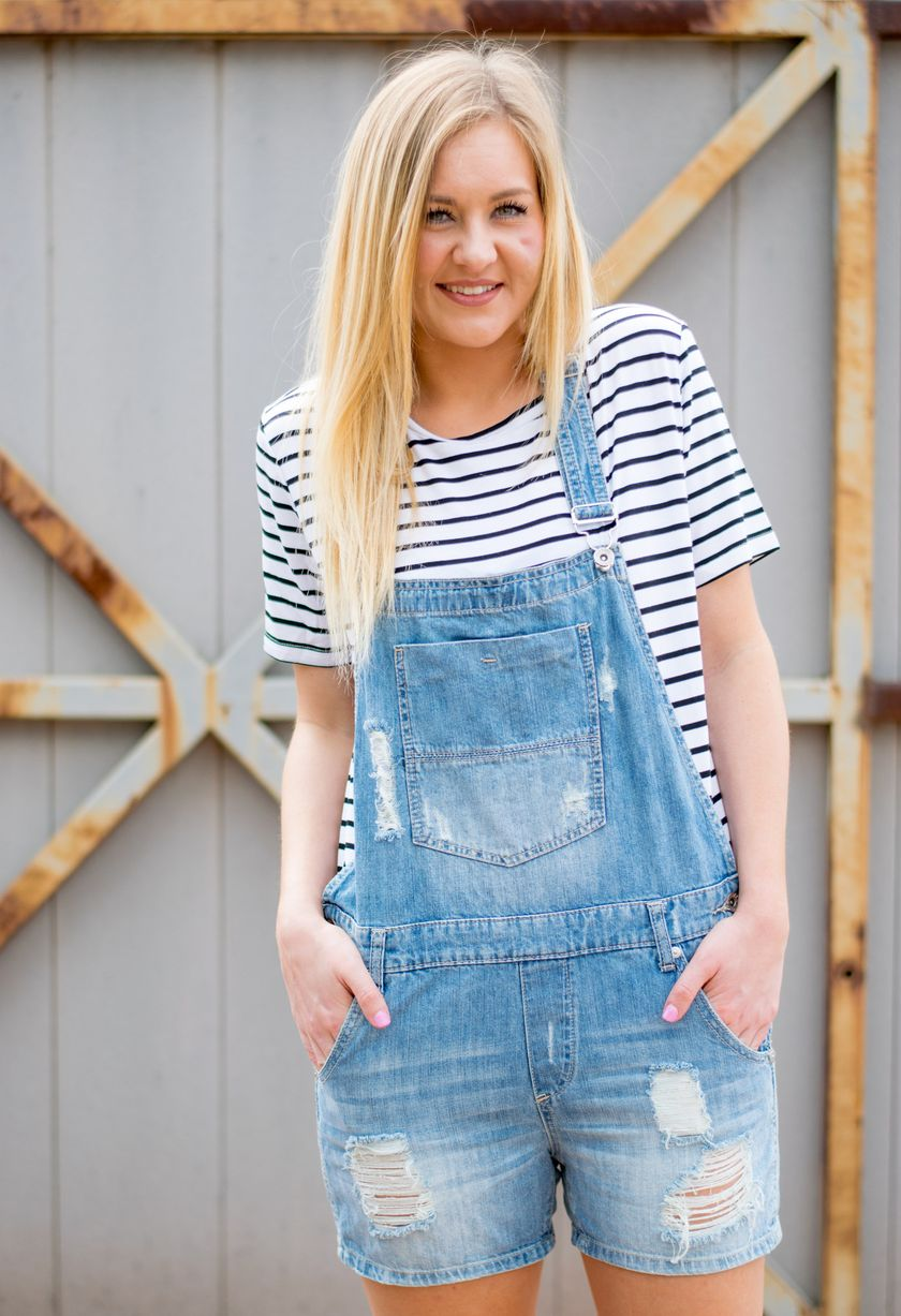 Denim overalls short outfit 104