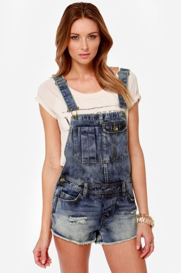 Denim overalls short outfit 108