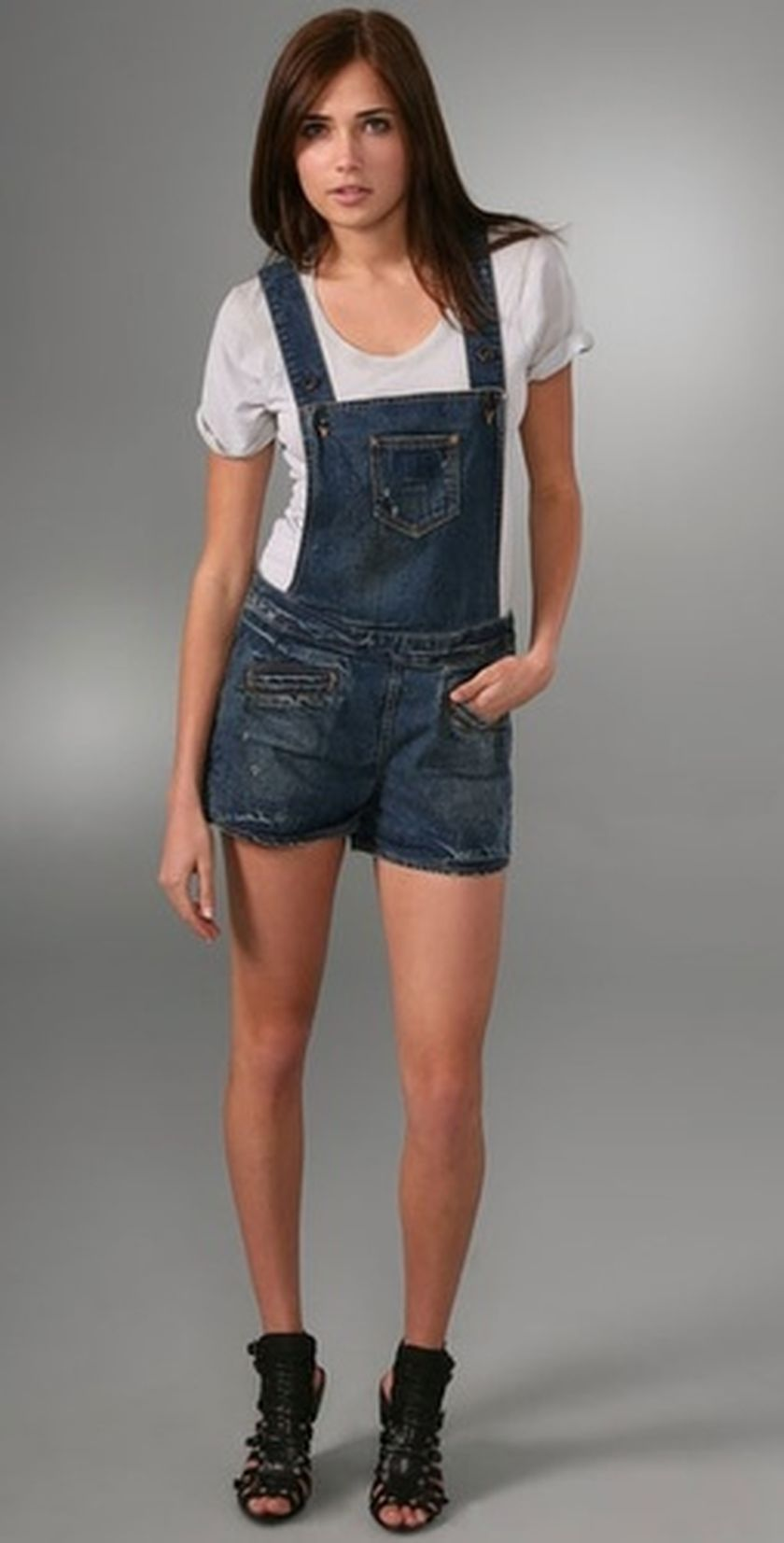 Denim overalls short outfit 11