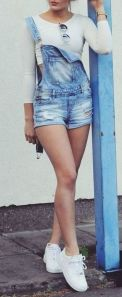 Denim overalls short outfit 111