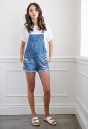 Denim overalls short outfit 113