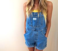 Denim overalls short outfit 21