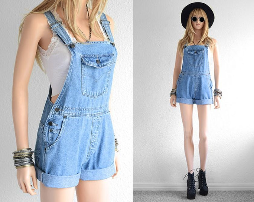 Denim overalls short outfit 28