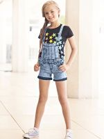 Denim overalls short outfit 31