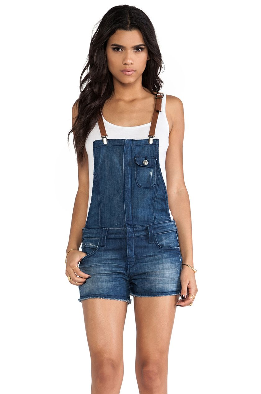 Denim overalls short outfit 32