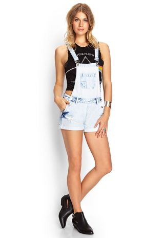 Denim overalls short outfit 34