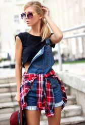 Denim overalls short outfit 36