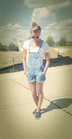 Denim overalls short outfit 38