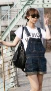 Denim overalls short outfit 42