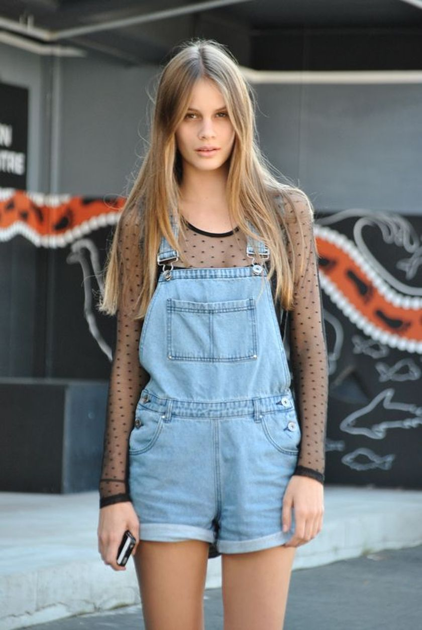 Denim overalls short outfit 43