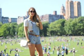 Denim overalls short outfit 44