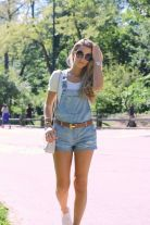 Denim overalls short outfit 45