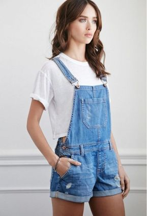 Denim overalls short outfit 46