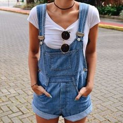 Denim overalls short outfit 47