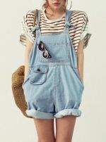 Denim overalls short outfit 5