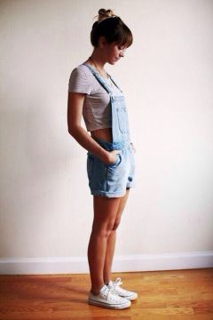 Denim overalls short outfit 55