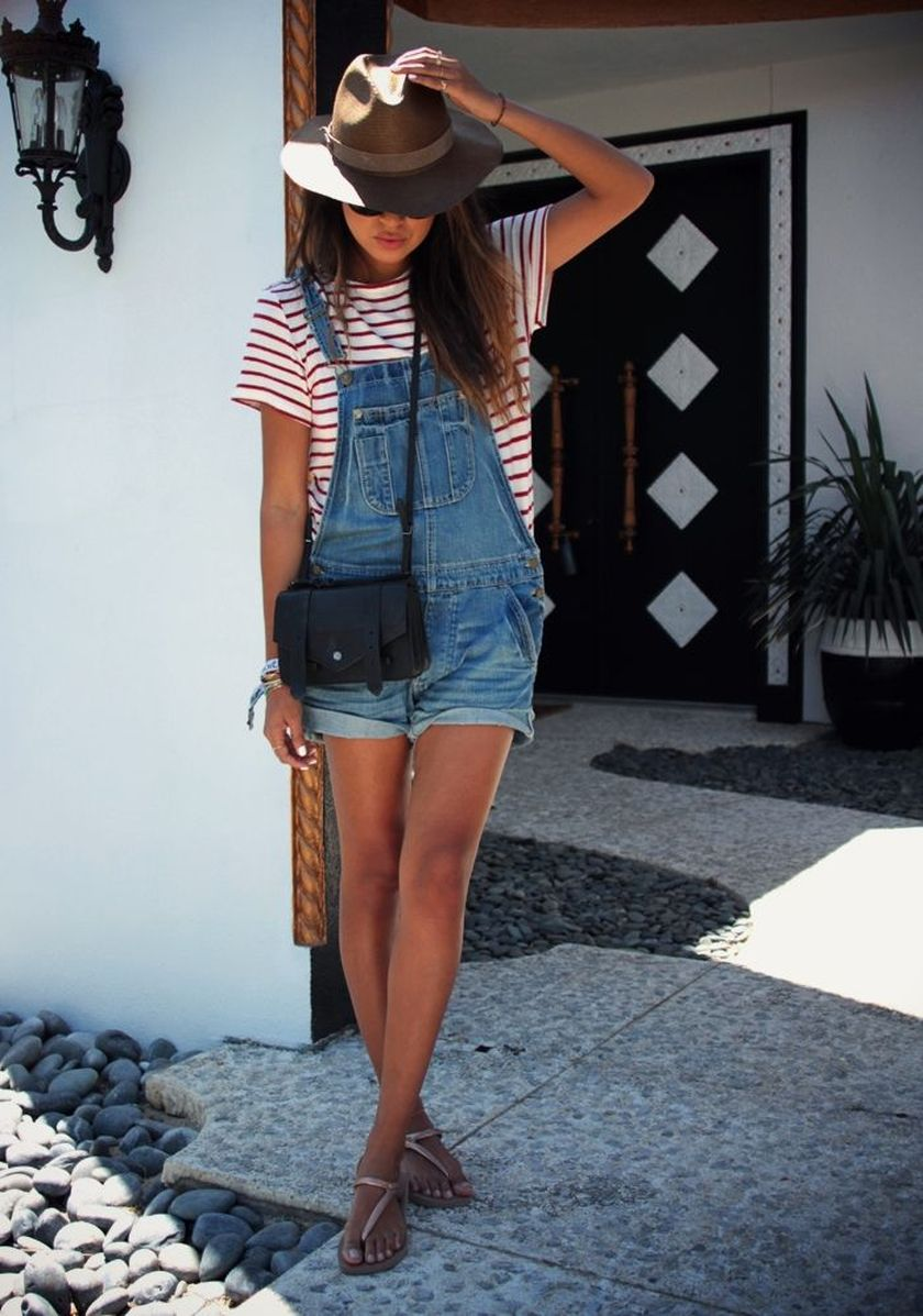 Denim overalls short outfit 6