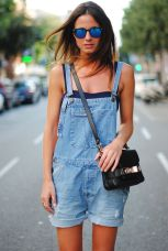 Denim overalls short outfit 65