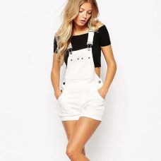 Denim overalls short outfit 66