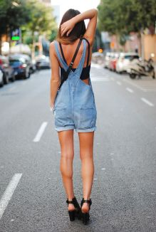 Denim overalls short outfit 77