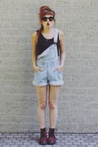 Denim overalls short outfit 79