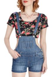 Denim overalls short outfit 84