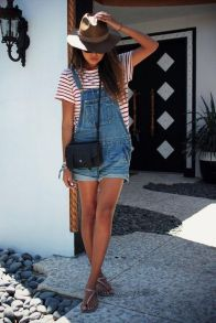 Denim overalls short outfit 89