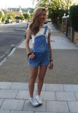 Denim overalls short outfit 93