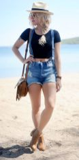 Denim overalls short outfit 94