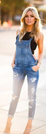 Denim overalls short outfit 96