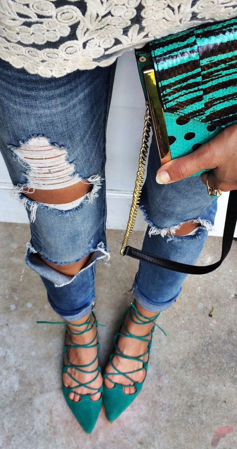 Flat lace up shoes trend 24