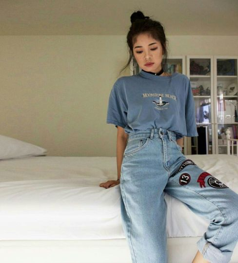 High waisted jeans outfit style 116