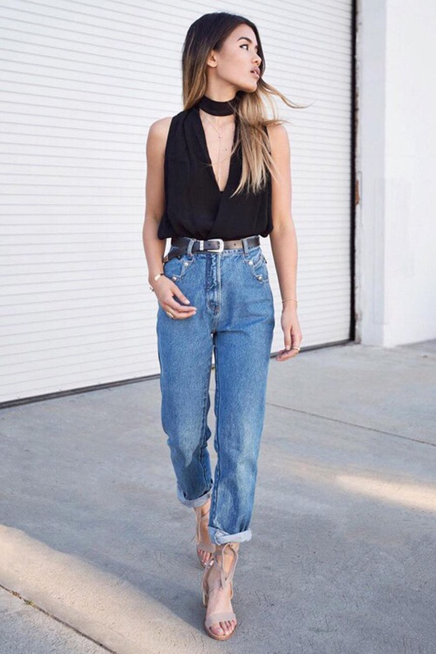 High waisted jeans outfit style 45