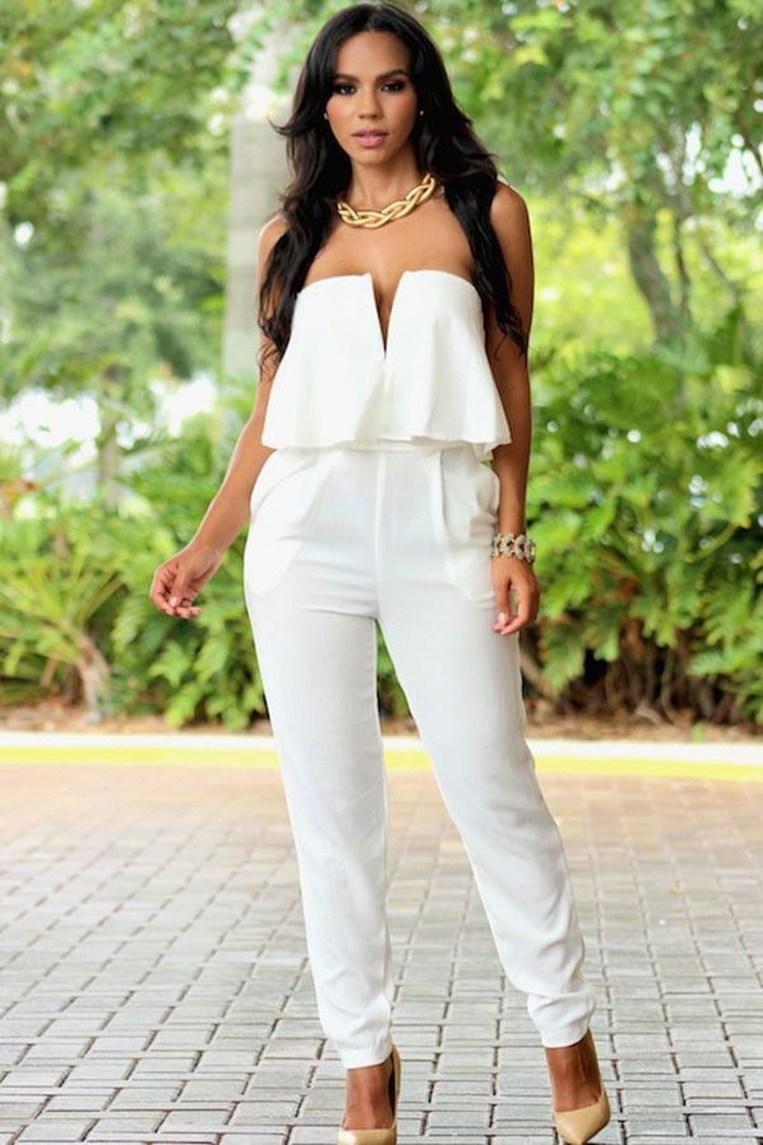 Jumpsuits strapless outfit 43