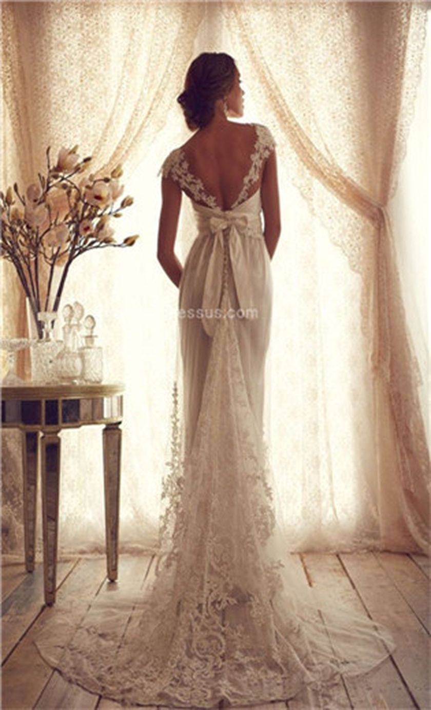 Open back vintage lace wedding dress 38