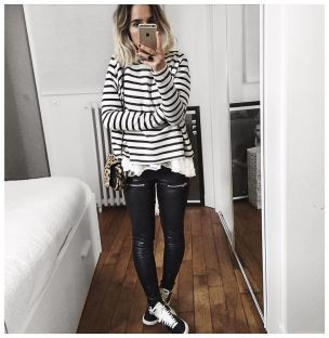 Sporty black leggings outfit and sneakers 39