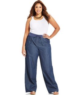 Wide leg denim plus size 35