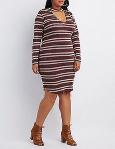 Amazing plus size striped dress outfits ideas 13