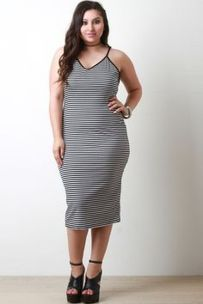 Amazing plus size striped dress outfits ideas 22
