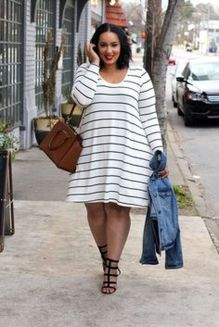 Amazing plus size striped dress outfits ideas 57