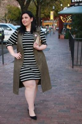Amazing plus size striped dress outfits ideas 83
